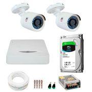 Kit JFL 2 Câmeras HD 720p CHD 1130P + DVR DHD-2104N 1080N com HD 1TB Seagate + Acessórios