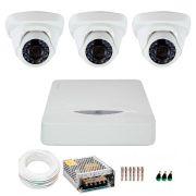 Kit JFL 3 Câmeras Dome HD 720p CHD-1115P + DVR DHD-2104N 1080N + Acessórios