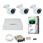 Kit JFL 3 Câmeras HD 720p CHD 1130P + DVR DHD-2104N 1080N com HD 1TB Seagate + Acessórios