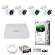 Kit JFL 4 Câmeras HD 720p CHD 1130P + DVR DHD-2104N 1080N com HD 1TB Seagate + Acessórios