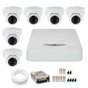 Kit JFL 6 Câmeras Dome HD 720p CHD-1115P + DVR DHD-2108N 1080N + Acessórios