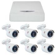 Kit JFL 6 Câmeras HD 720p CHD 1130P + DVR DHD-2108N 1080N + Acessórios