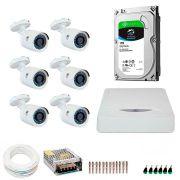 Kit JFL 6 Câmeras HD 720p CHD 1130P + DVR DHD-2108N 1080N com HD 1TB Seagate + Acessórios