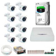 Kit JFL 8 Câmeras HD 720p CHD 1130P + DVR DHD-2108N 1080N com HD 1TB Seagate + Acessórios