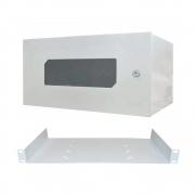 Kit Mini Rack 5u x 350mm Economic Porta C/ Visor Acrílico Branco Max Eletron + Bandeja Fixa 1U Padrão 19 x 250mm Branca
