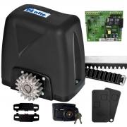 Kit Motor Portão Rossi DZ Atto Turbo 350Kg 1/5 Deslizante Automático de Correr Eletrônico Com Abertura Rápida + 4 Metros de Cremalheira