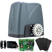 Kit Motor Portão Rossi DZ Nano Turbo 600Kg 1/4 Deslizante Automático de Correr Eletrônico Com Abertura Rápida + 4 Controles
