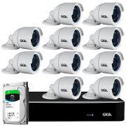 Kit 10 Câmeras Full HD + DVR Giga Security + HD 1TB + App Grátis de Monitoramento, Câmeras GS0273 1080p 30m Infravermelho de Visão Noturna + Fonte, Cabos e Acessórios
