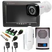 Kit Porteiro Eletrônico AGL P10S + Câmera Bullet Tudo Forte + Vídeo Monitor Tela LCD Colorido 7