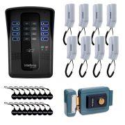Kit Porteiro Eletrônico Coletivo de 8 Pontos - Central Collective 8 Intelbras + Interfone Interno 8 Unidades + Cartão de Proximidade 16 Unidades + Fechadura Elétrica