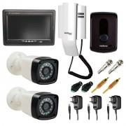 """Kit Porteiro Intelbras IPR8010 com 02 Câmeras Infravermelho e Tela Monitor 7"""" LCD Colorido"""