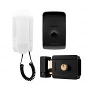 Kit Porteiro Interfone Eletrônico IPR 1010 Residencial Intelbras + Fechadura Elétrica de Sobrepor Cilindro Fixo FX 500 Intelbras