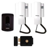 Kit Porteiro Interfone Eletrônico IPR 8010 Residencial Intelbras com 2 Monofones + Fechadura Elétrica de Sobrepor Cilindro Fixo FX 500 Intelbras
