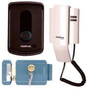 Kit porteiro residencial intelbras ipr 8010 + fechadura elétrica de sobrepor intelbras fx 2000
