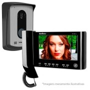Kit Vídeo Porteiro Interfone Intelbras IV 7010 HS Preto, Visualiza até 04 Cameras, Atende por Celular, abre 2 portões, Tela LCD 7