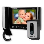 Kit Vídeo Porteiro Interfone Intelbras IV 7010 HS Preto, Visualiza até 04 Cameras, Atende por Celular, abre 2 portões, Tela LCD 7 polegadas