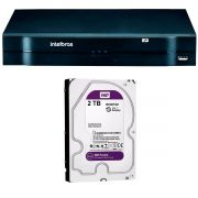 NVR, HVR Stand Alone Intelbras NVD 1208 8 Canais, para Camera IP, OnVif + HD WD Purple 2TB