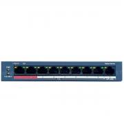 Switch PoE 9 Portas Hikvision DS-3E0109P-E/M, 8 portas PoE e 1 porta UpLink, alimentação até 250 mts distância