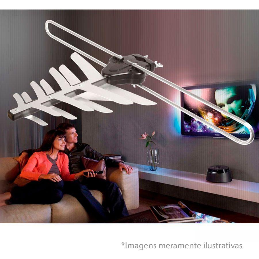 Antena Externa 4 em 1, Digital e Analógica para Sinais UHF / VHF / FM e HDTV Digital