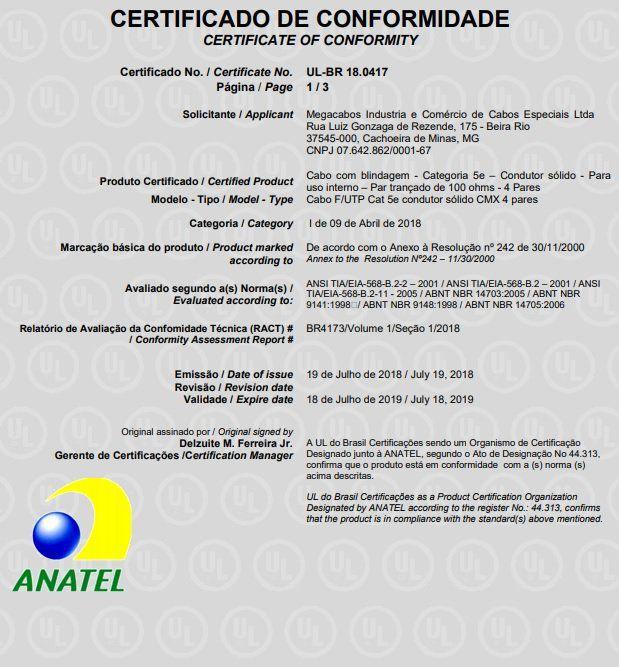 Cabo de Rede Azul CAT5e Megatron 305 mts Homologado Anatel  - Tudo Forte