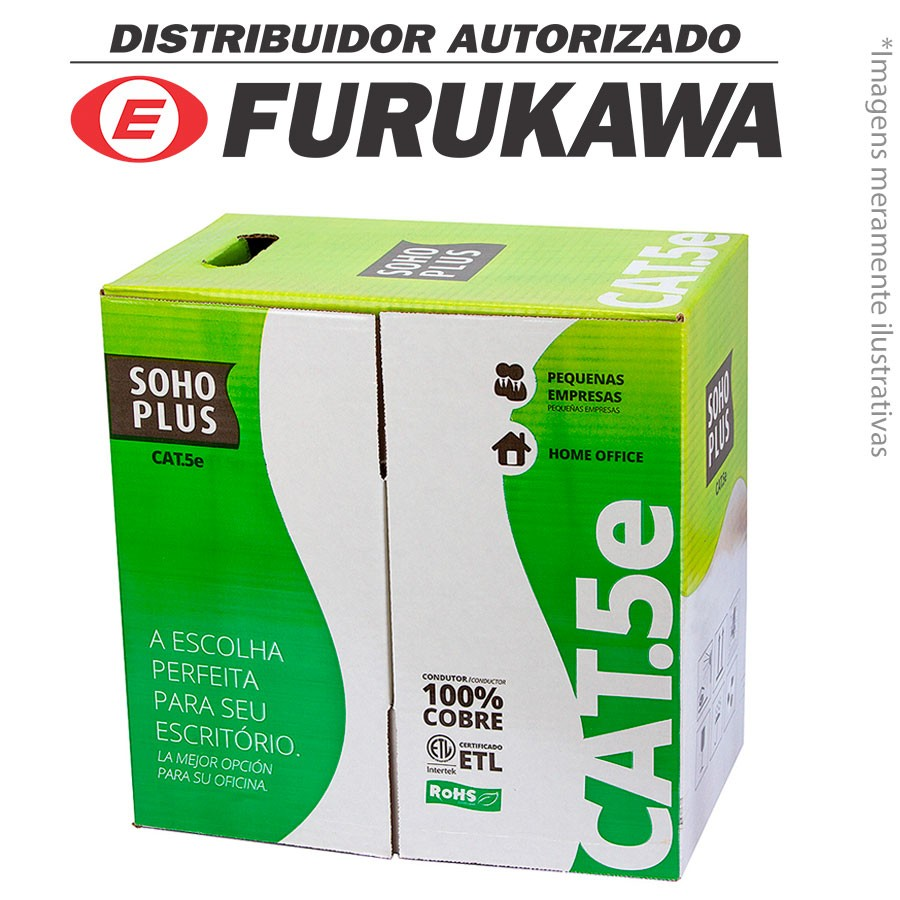 Cabo Rede Lan Cat 5e UTP Furukawa Soho Plus Azul 100% Cobre Caixa 305 Metros RJ45