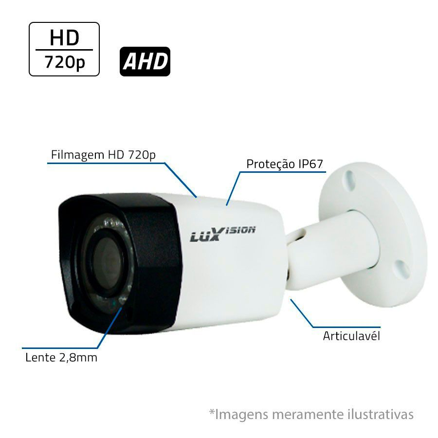 Câmera Bullet Infravermelho AHD LV5280B  HD 720P 2,8mm Luxvision  - Tudo Forte