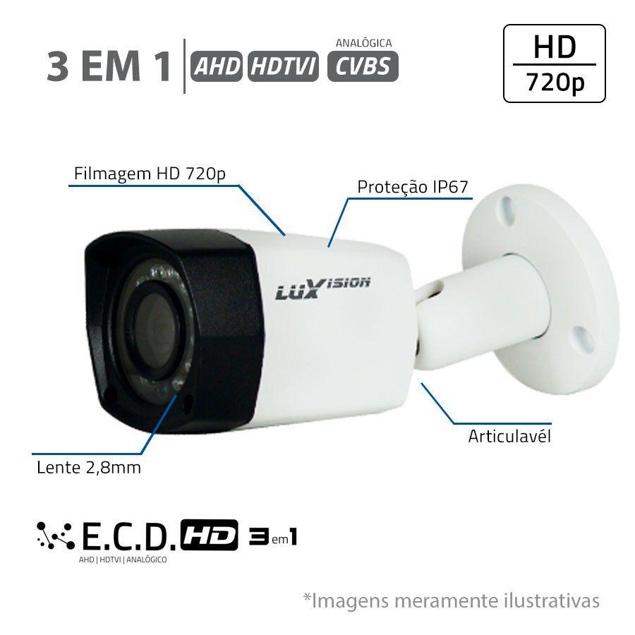 Câmera Bullet Infravermelho ECD HD 3 em 1 LVC5280B3 HD 720P 2,8mm Luxvision