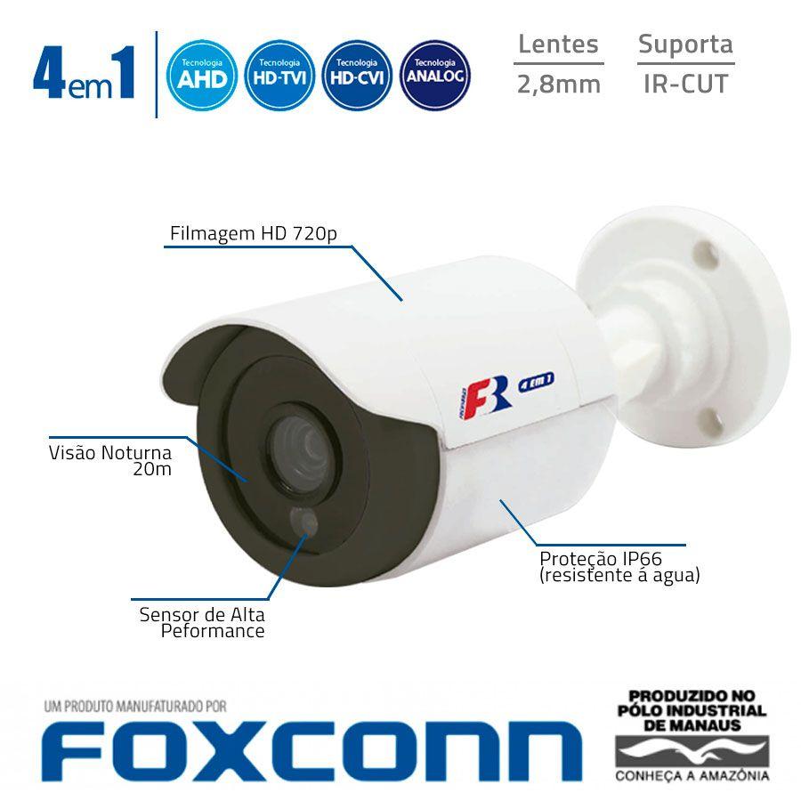 Câmera Bullet HD 720p Infravermelho Focusbras FBR FS-PBF1M 2,8mm 15m Visão Noturna - Multi HD: HDCVI + HDTVI + AHD + ANALÓGICO - Similar Intelbras VHD 1120 B