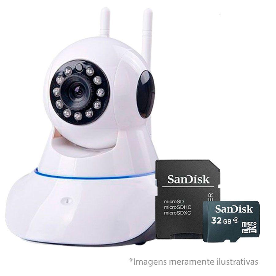 Câmera IP Sem Fio Wifi HD 720p Robo Wireless, Com áudio, Grava em Cartão SD, com 2 Antenas e Visão Noturna + Cartão SD para Armazenamento 32GB