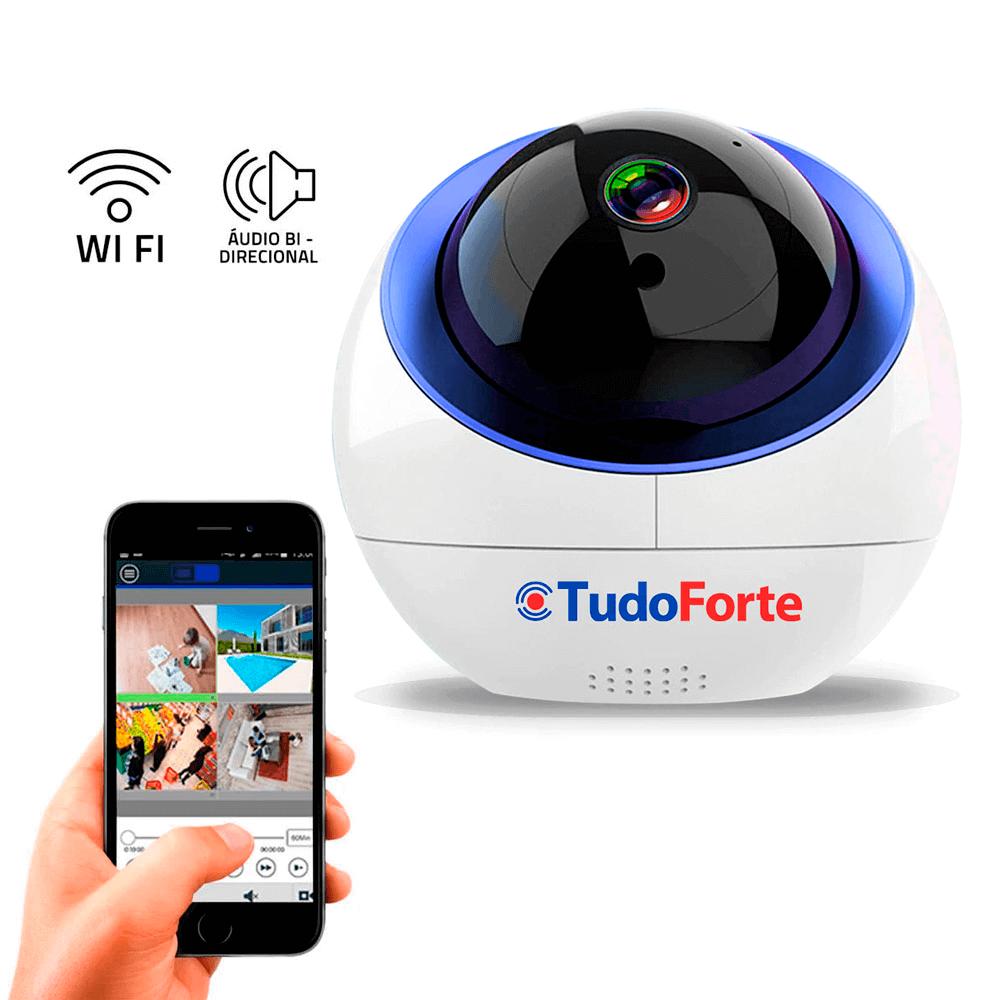 Câmera IP Sem Fio Wifi HD 720p Wireless, Com áudio, Grava em Cartão SD, com Auto Tracking e Sensor de Movimento  - Tudo Forte