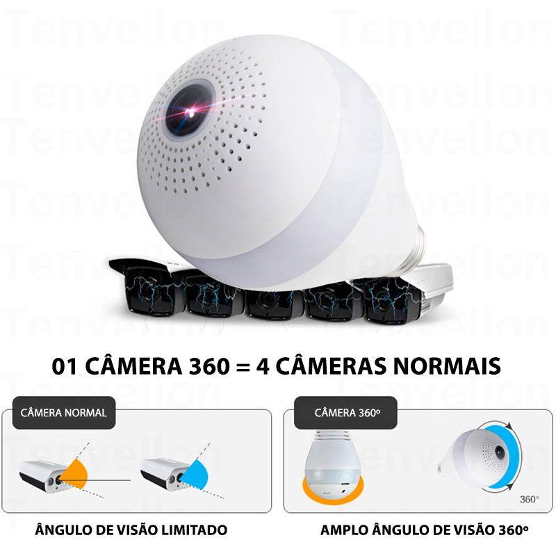 Câmera Lâmpada Panorâmica, 360º, Wifi Sem Fio, HD 720p, Grava em Cartão SD, Microfone e Alto Falante Embutido  - Tudo Forte