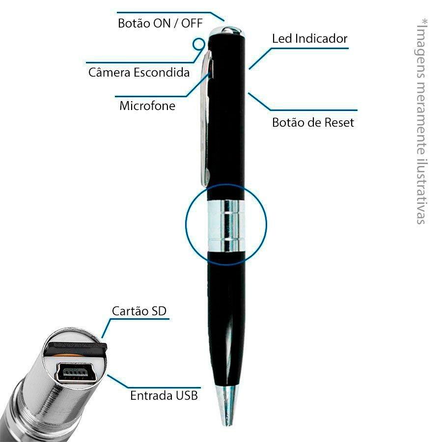 Caneta Espiã Mini Câmera Escondida Camuflada Grava Áudio e Vídeo e Tira Fotos Aceita Cartão SD até 32GB