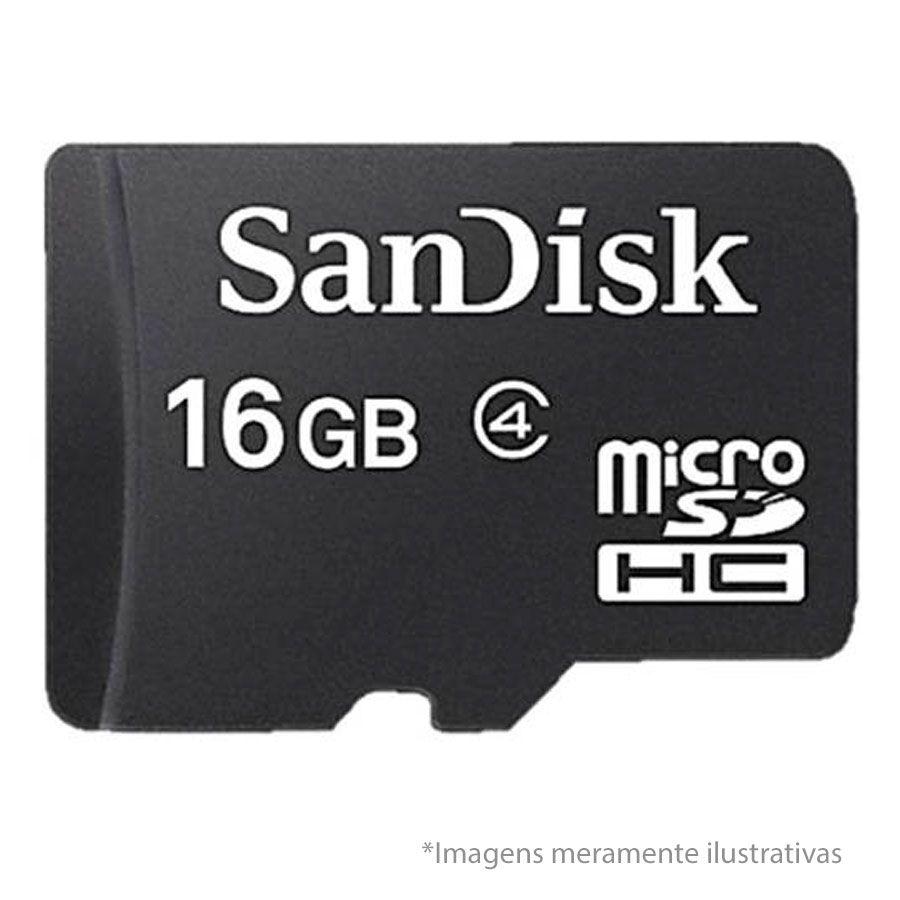 Cartão de Memória Micro SD 16GB com Adaptador microSDHC SanDisk para Câmeras de Segurança e Smartphones