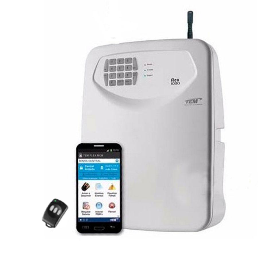 Central de Alarme 10 Setores Monitorado TEM FLEX-1080, Discadora de Linha e/ou GSM , Aplicativo Celular e PGM