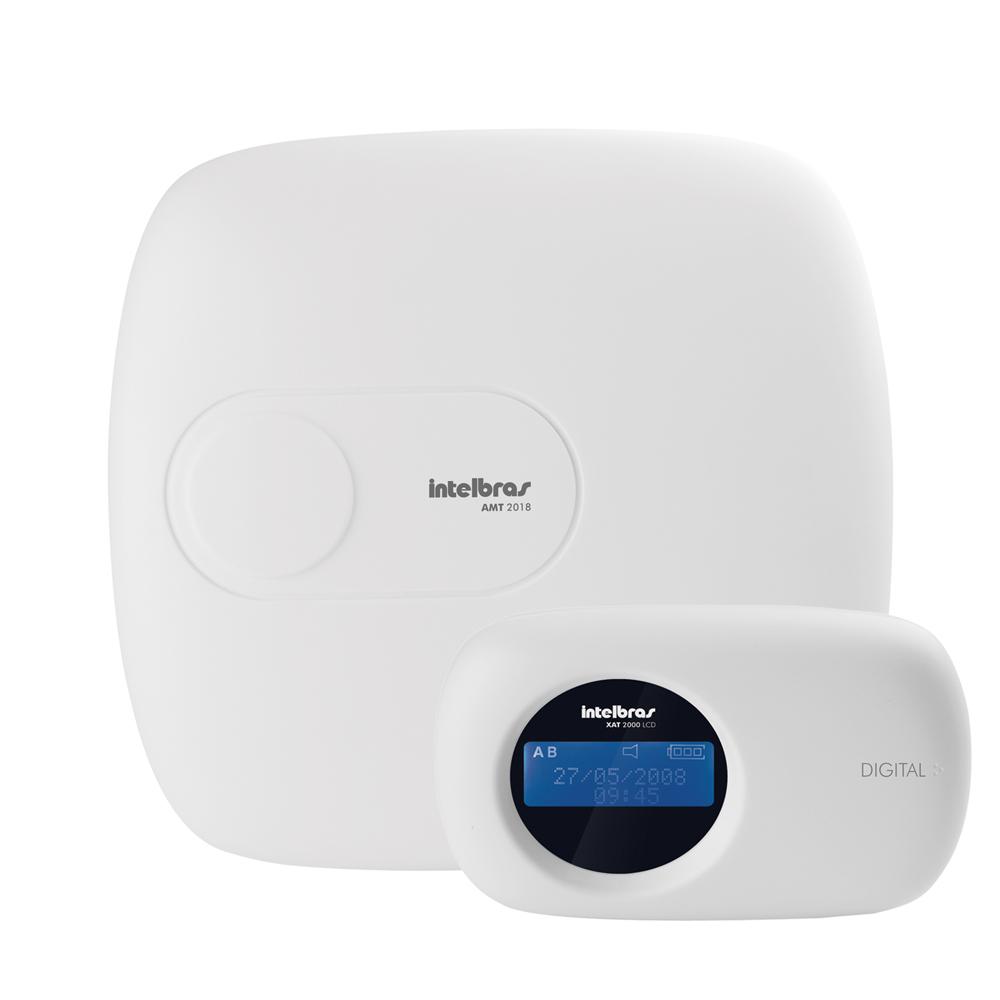 Central de Alarme Intelbras AMT 2018, Alarme monitorado com 18 zonas (8 + 8 + 2 com fio + 24 sem fio), Via linha telefônica, 2 Partições, Discadora  - Tudo Forte