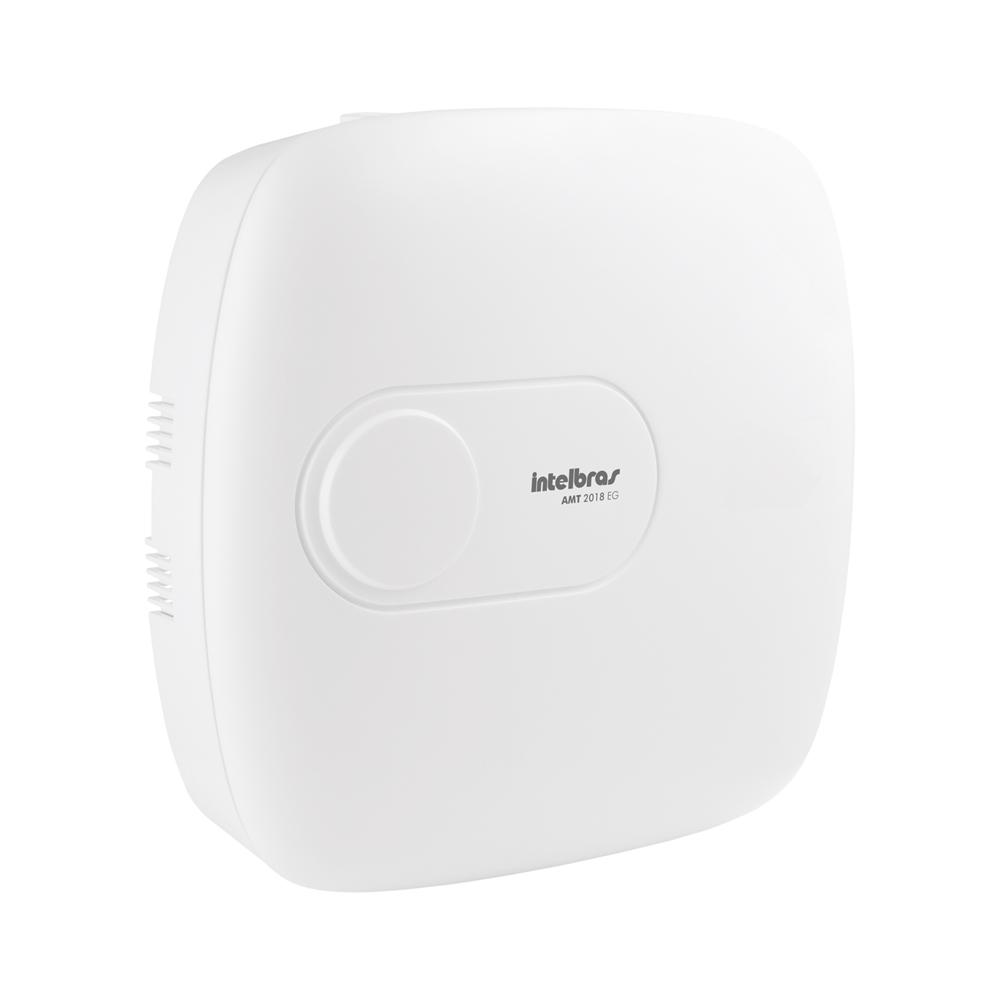 Central de Alarme Intelbras AMT 2018 EG, Alarme monitorado com 18 zonas (8 + 8 + 2 com fio + 24 sem fio), Via (linha telefônica/ethernet/GSM-GPRS), 2 Partições, Discadora  - Tudo Forte
