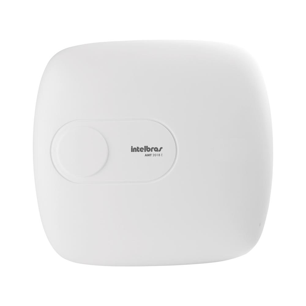 Central de Alarme Intelbras AMT 2018E, Alarme monitorado com 18 zonas (8 + 8 + 2 com fio + 24 sem fio), Via (linha telefônica/ethernet), Discadora  - Tudo Forte