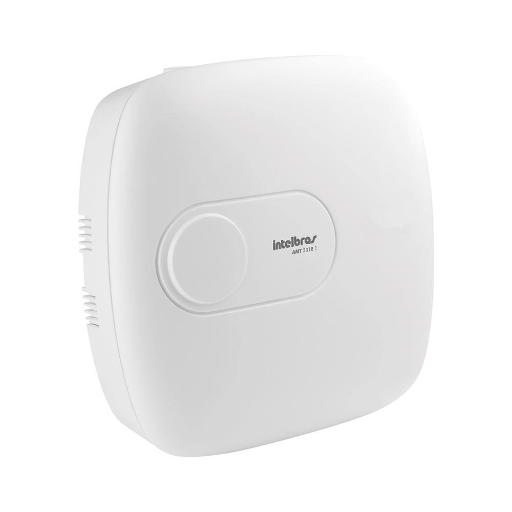 Central de Alarme Intelbras AMT 2018E, Alarme monitorado com 18 zonas (8 + 8 + 2 com fio + 24 sem fio), Via (linha telefônica/ethernet), 2 Partições, Discadora  - Tudo Forte
