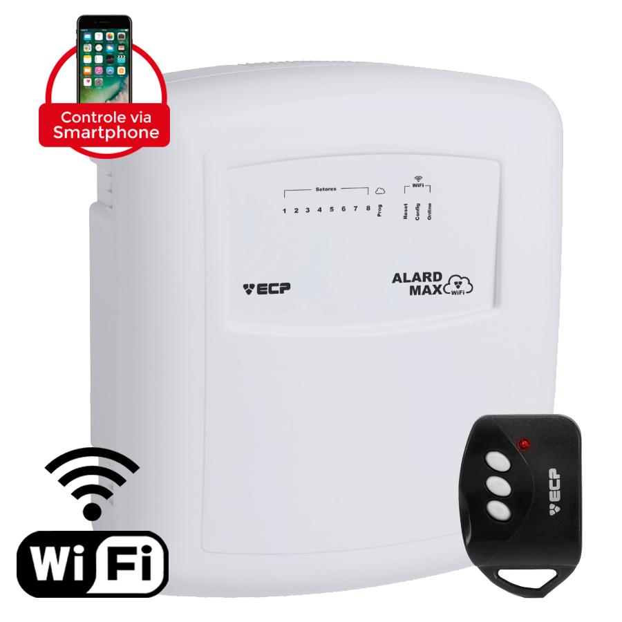 Central Alarme Wifi ECP Alard Max, 8 Setores, com Discadora e Controle Remoto