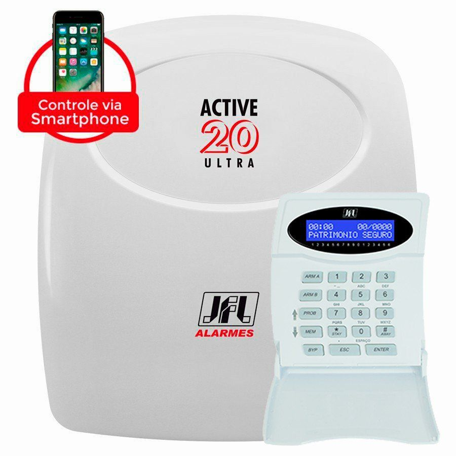 Central Alarme JFL Active 20 Ultra, Monitorável para até 22 zonas