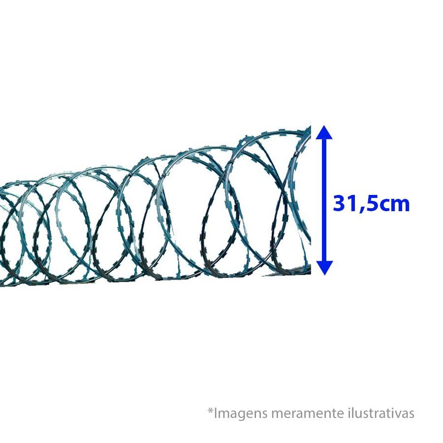 Cerca Concertina Dupla Clipada - Ouriço Duplo Clipado com 31,5 cm de diâmetro, Rende aprox. 5Mts de muro  - Tudo Forte