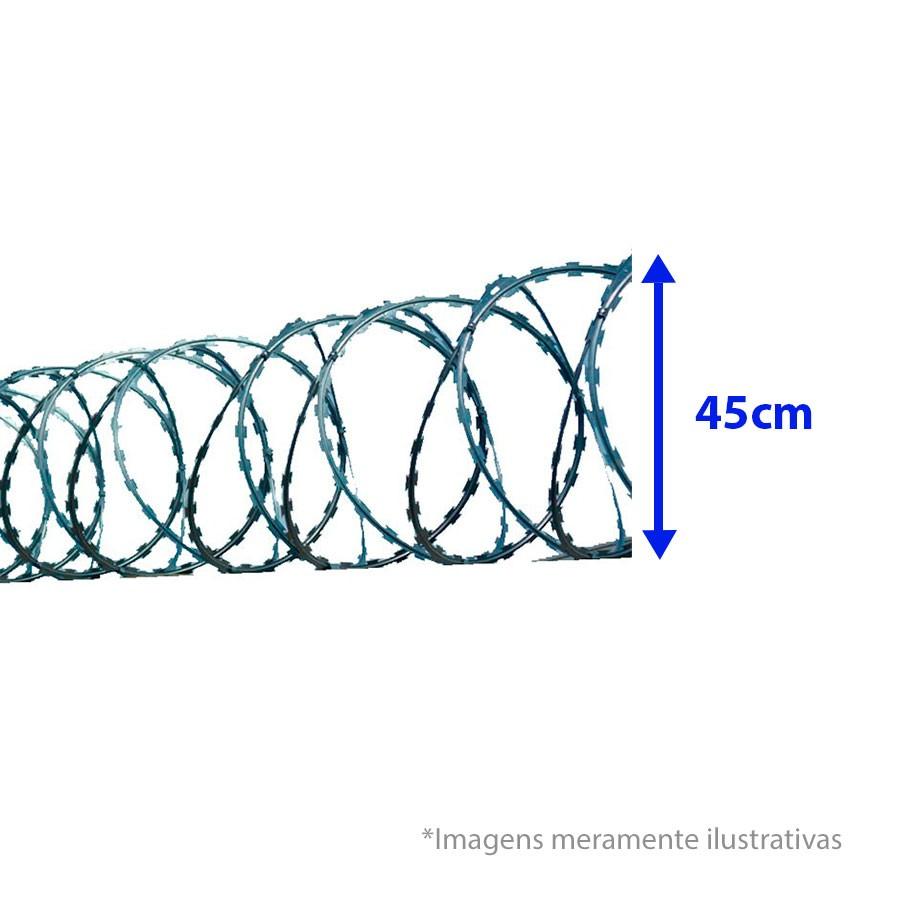 Cerca Concertina Dupla Clipada - Ouriço Duplo Clipado com 45 cm de diâmetro, Rende aprox. 6Mts de muro  - Tudo Forte