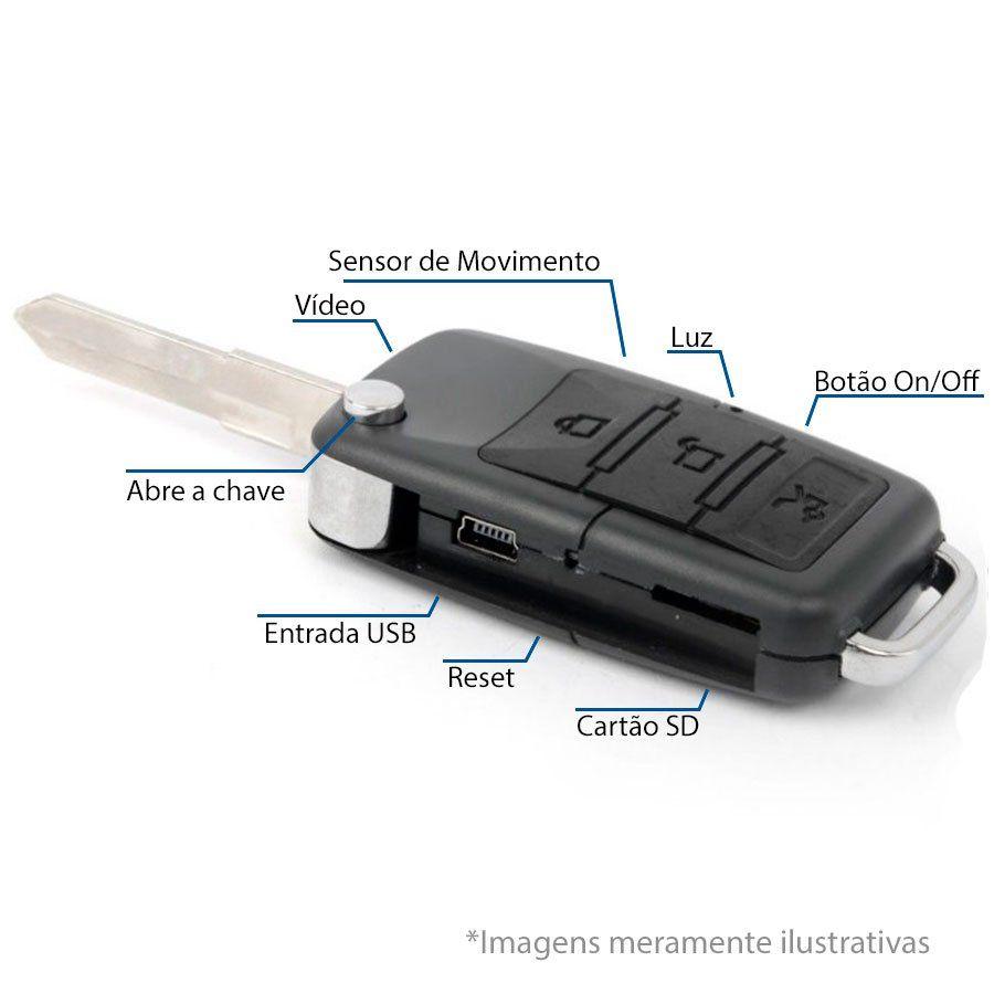 Chaveiro Espião Chave de Carro Mini Câmera Escondida Camuflada Grava Áudio e Vídeo com Sensor de Movimento e Fotos