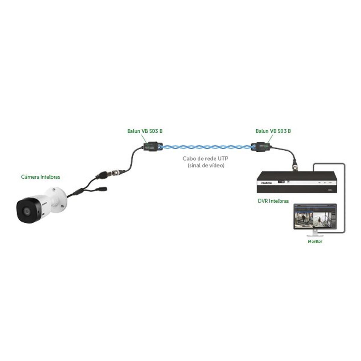 Conversor Balun Passivo Intelbras VB 503 B - Compatíveis com Analógicas HD, Full HD, 4MP e 4K  - Tudo Forte