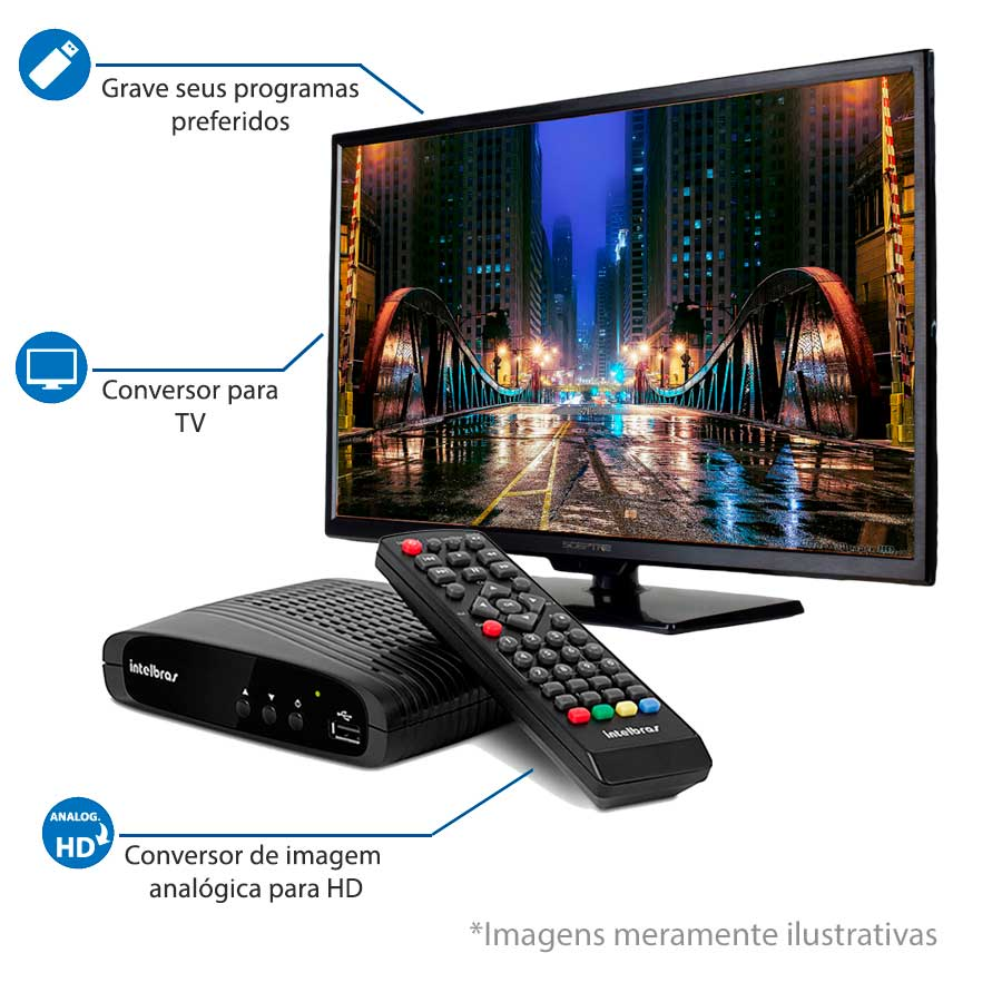 Conversor de TV Digital com Gravação da Programação via Pen Drive Intelbras CD 636