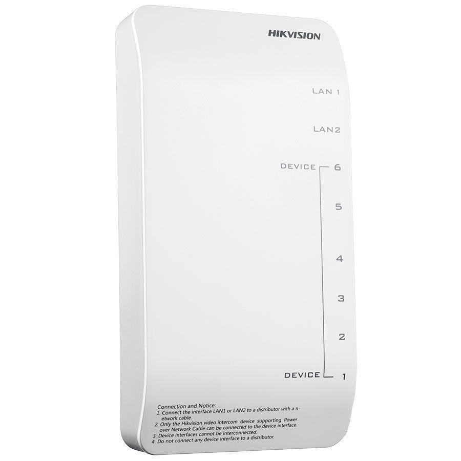 Distribuidor POE Hikvision DS-KAD606-P para Video Porteiro Residencial 6 porta - Fonte 24V Inclusa