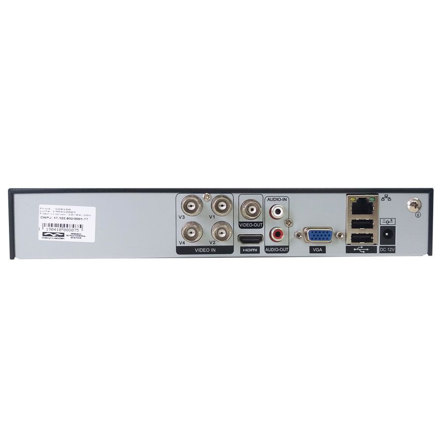 DVR Stand Alone 4 Canais Giga GS0180 - 2MP Full HD 1080p