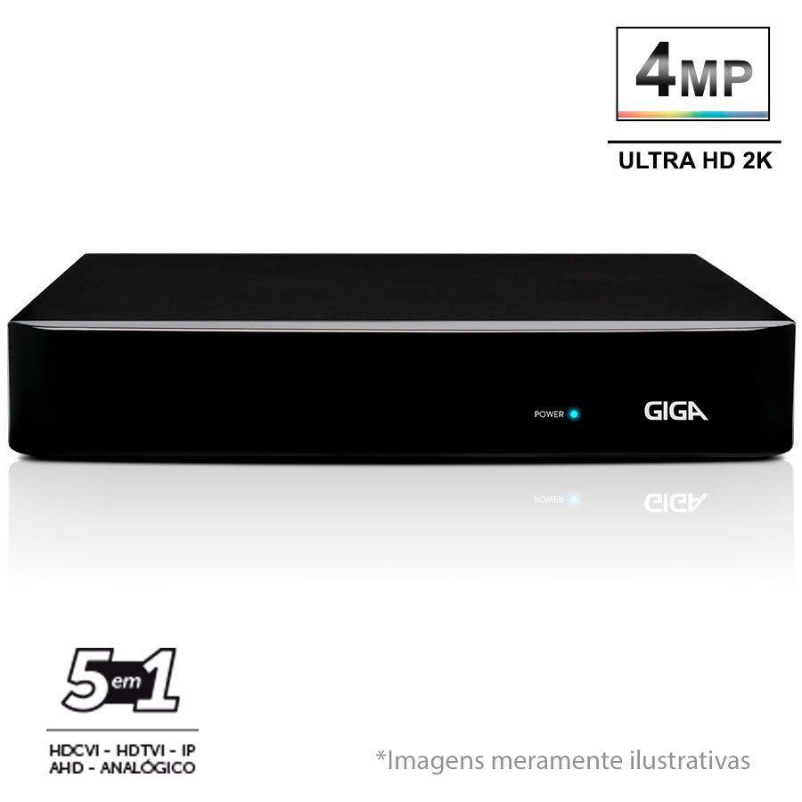 DVR Stand Alone 4 Canais Giga GS04OPEN4Mi2 - 4MP, Ultra HD 2k, 5 em 1 - HDCVI, HDTVI, AHD, CVBS, IP