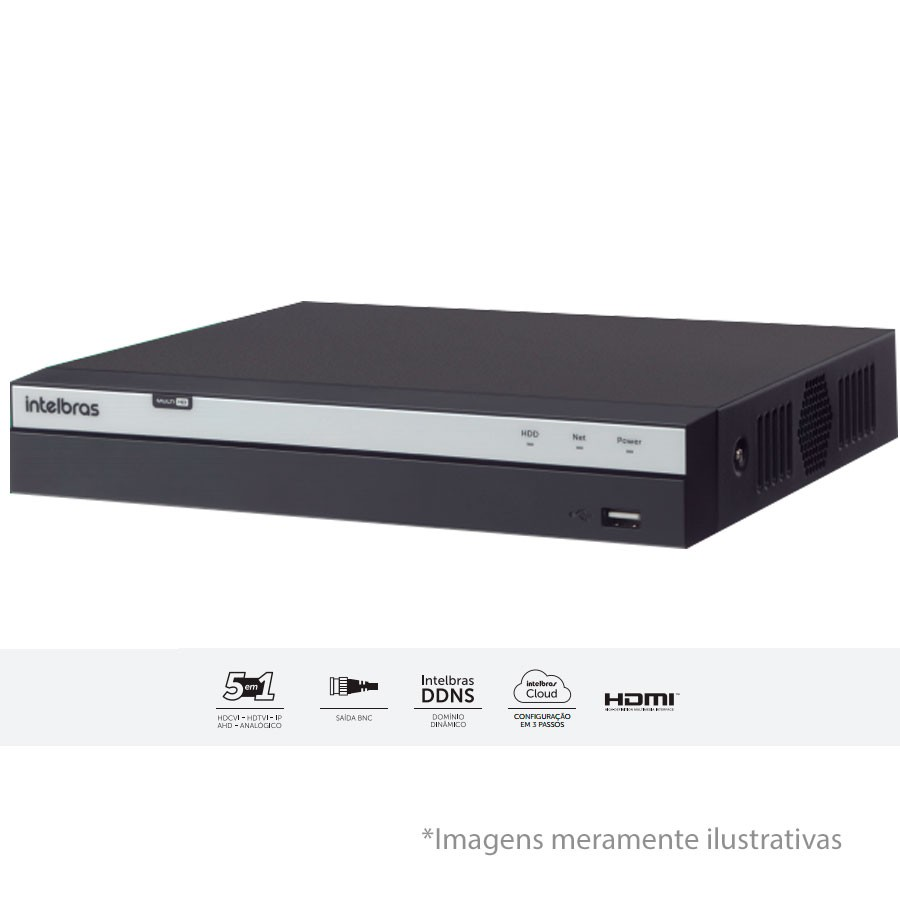 DVR Stand Alone Intelbras MHDX 3008 08 Canais Full HD 1080p Multi HD + 04 Canais IP 5 Mp