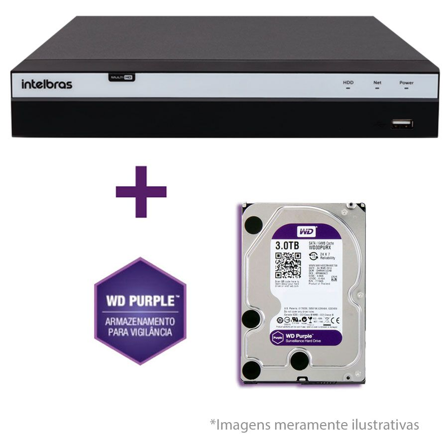 DVR Stand Alone Intelbras MHDX 3008 08 Canais Full HD 1080p Multi HD + 04 Canais IP 5 Mp + HD WD Purple 3TB